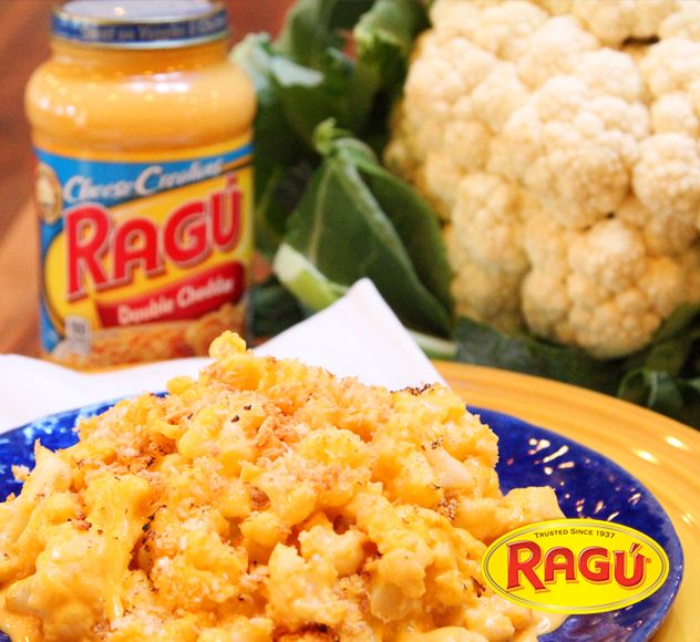 """Cauliflower """"Mac"""" & Cheese! Elbow noodles? Who needs 'em! Ragú Double Cheddar Sauce is the perfect base for this  veggie dish."""