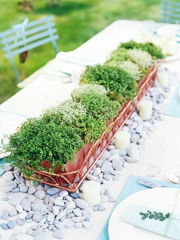 Woodland Chic: Go Green  The Centerpiece: Centerpiece Ideas, Centerpieces Ideas, Summer Centerpieces, Moss Centerpieces, Rivers Rocks, Herbs Centerpieces, Green Centerpieces, Picnics Tables, Diy Centerpieces