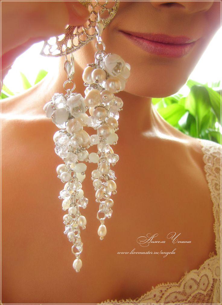 Купить Длинные свадебные серьги-гроздья - свадебные серьги, свадебные длинные серьги