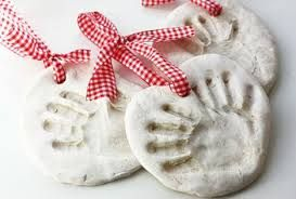 Hand print ornaments with salt dough