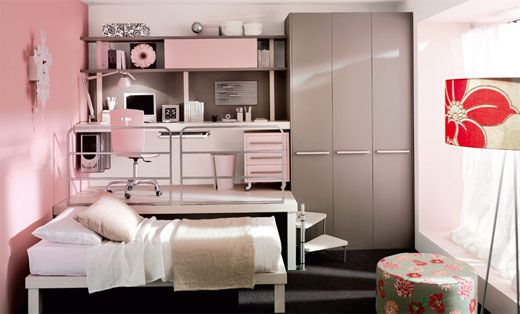 Perfection for any age girl.  I love how the bed can slide underneath the desk semi-loft for extra floor space, with the built-in armoire for added storage and providing a grounding to the pink and white color scheme. By altering the color scheme, and knowing there are choices to make for change-ups in the decor, even  I could live in a space with this design plan.: Small Bedrooms, Loft Bedrooms, Bedrooms Design, Girls Bedroom, Small Spaces, Teen Bedroom, Girls Rooms, Bedrooms Ideas, Kids Rooms