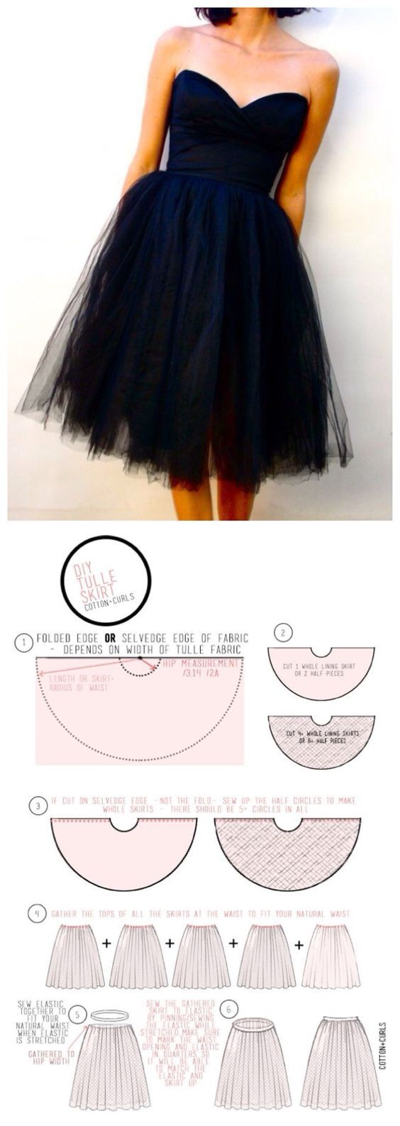 How to sew tulle skirt ~ Needs at least 9 layers. Stiff net gives you fullness; soft net gives you a romantic look