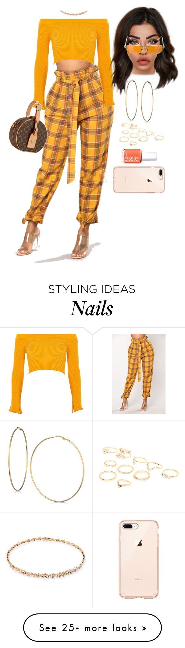 """Untitled #3038"" by mrkr-lawson on Polyvore featuring GUESS, River Island, Suzanne Kalan, Louis Vuitton, Chrome Hearts and Essie"