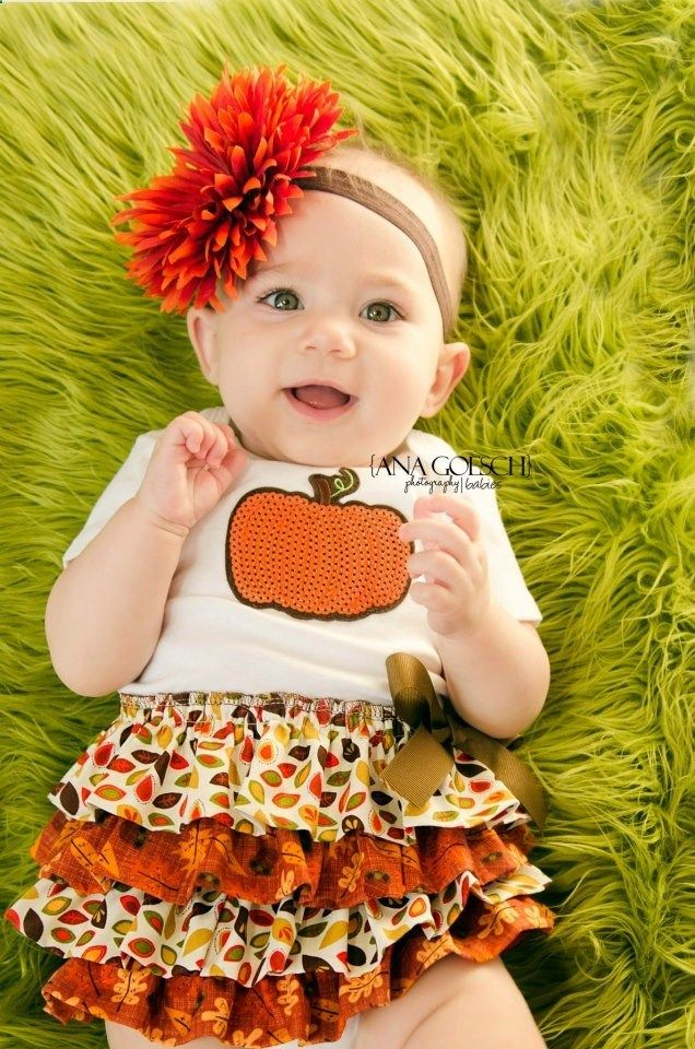 Fall Harvest Thanksgiving 4 Tier Ruffle Baby Dress Baby