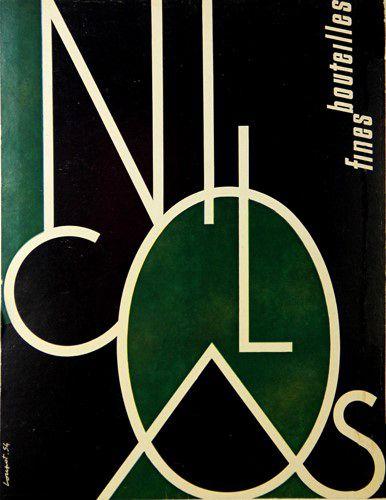 Affiche Vin Nicolas, Fines Bouteilles - France - illustration de Charles Loupot - 1954