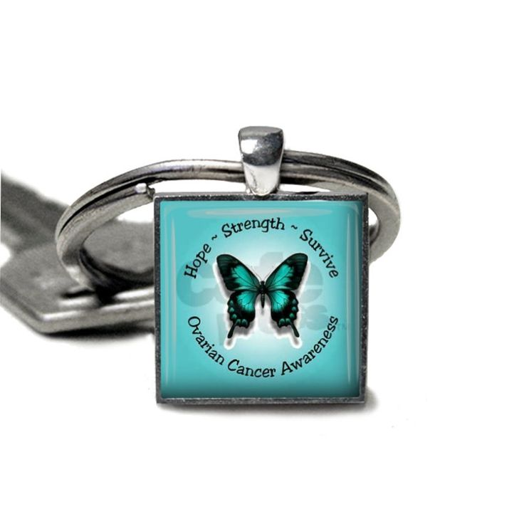 Made to Order Beautiful Silver Square Glass Cabochon Necklace/ Bracelet / Key Ring / Magnets Ovarian Cancer Awareness   ET   9093514 by JnJHandmadeGifts on Etsy