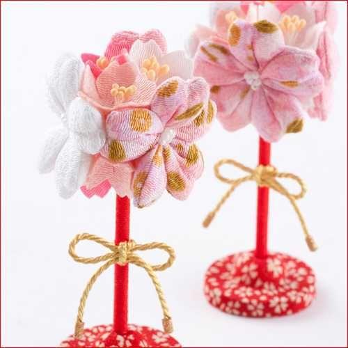 Cherry blossom  made from Chirimen-kimono fabric