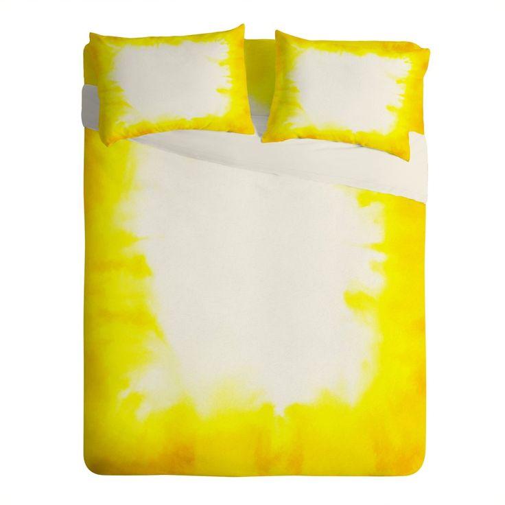 Jacqueline Maldonado Edge Dye Yellow Sheet Set Lightweight Deny Designs Home Accessories