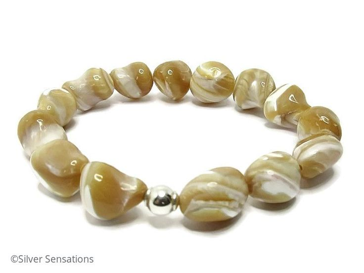 Natural Beige Caramel & Cream Mother of Pearl Nugget Beads & Sterling Silver Bracelet from Silver Sensations. Stunning MOP nuggets beaded stretch bracelet with a large Sterling Silver bead. @ProCrafterGuild #bracelet
