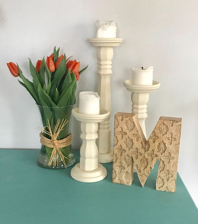 How to turn $5 table legs into Pottery Barn inspired candle holders.