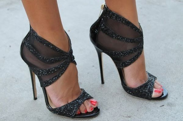 black sparkle heels with mesh inserts