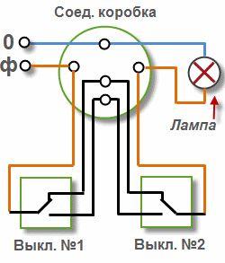 Схема подключения проходного выключателя для управления светильником из 2-х мест