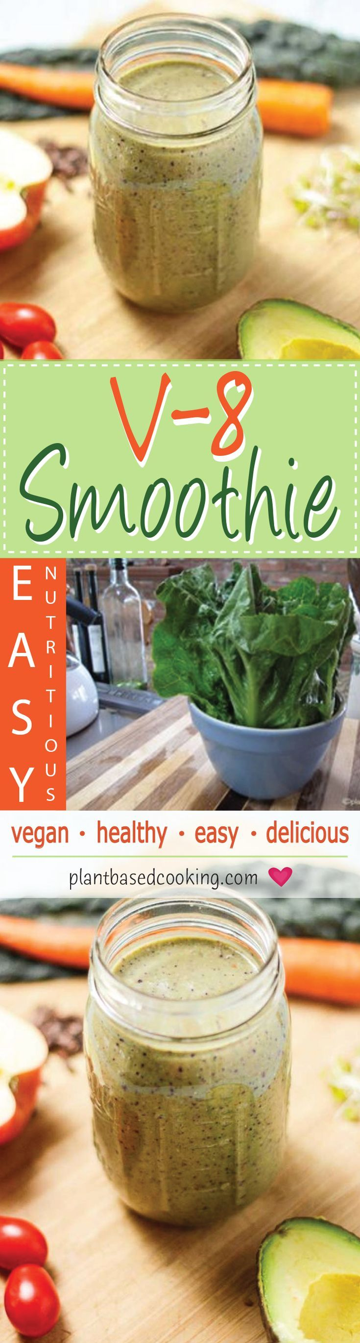 This V-8 smoothie will be your go-to for fresh, hydrating plant power and a wonderful pick-me-up. It's the perfect way to start your day or it makes a great snack. Mix it up and use different leafy greens to make this yummy treat more versatile.