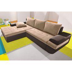 Canapé d'angle XL en microfibre bicolore, convertible + méridienne fixe droite ou gauche