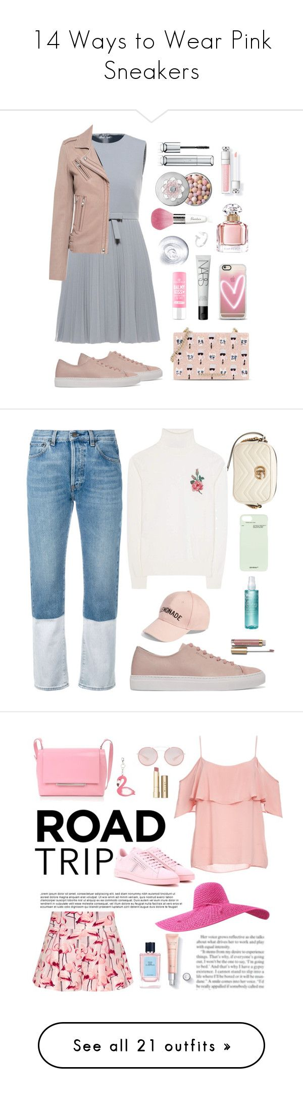"""14 Ways to Wear Pink Sneakers"" by polyvore-editorial ❤ liked on Polyvore featuring waystowear, pinksneakers, Axel Arigato, Karl Lagerfeld, Guerlain, Casetify, NARS Cosmetics, RED Valentino, IRO and Ports 1961"