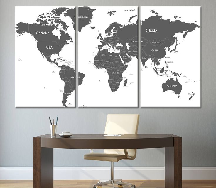 80 best world map images on pinterest canvas prints photo large grey and white world map wall art with countries names canvas print large home or office decor political world map canvas print set gumiabroncs Image collections