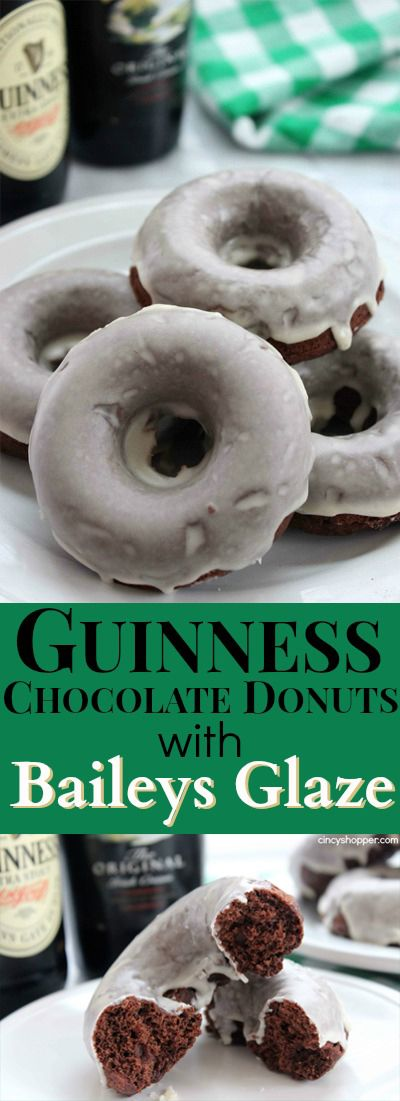 Guinness Chocolate Donut with Baileys Glaze- Perfect donut to start your St. Patrick's Day celebrations!