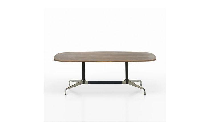 Vitra - Eames - Tafel bootvorm 183x107cm - Zwitsers perenhout/onderstel chroom/traverse & poten basic dark zwart/6 zitplaatsen
