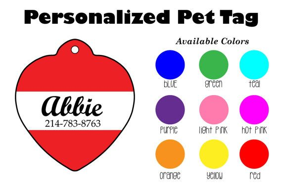 Personalized Heart Shaped Pet Tag Personalized by SunshineSusieBtq