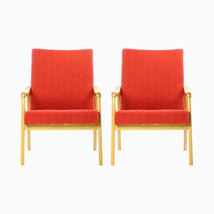 Red Armchairs From Interier Praha, 1960s, Set Of 2 Jetzt Bestellen Unter:  Https