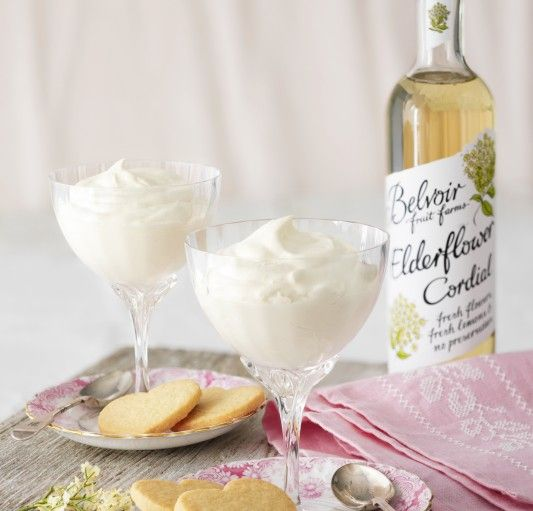 Sophie Conran's Elderflower Syllabub with Shortbread ~ made with cordial, lemon, & cream | recipe via Belvoir Fruit Farms (UK)