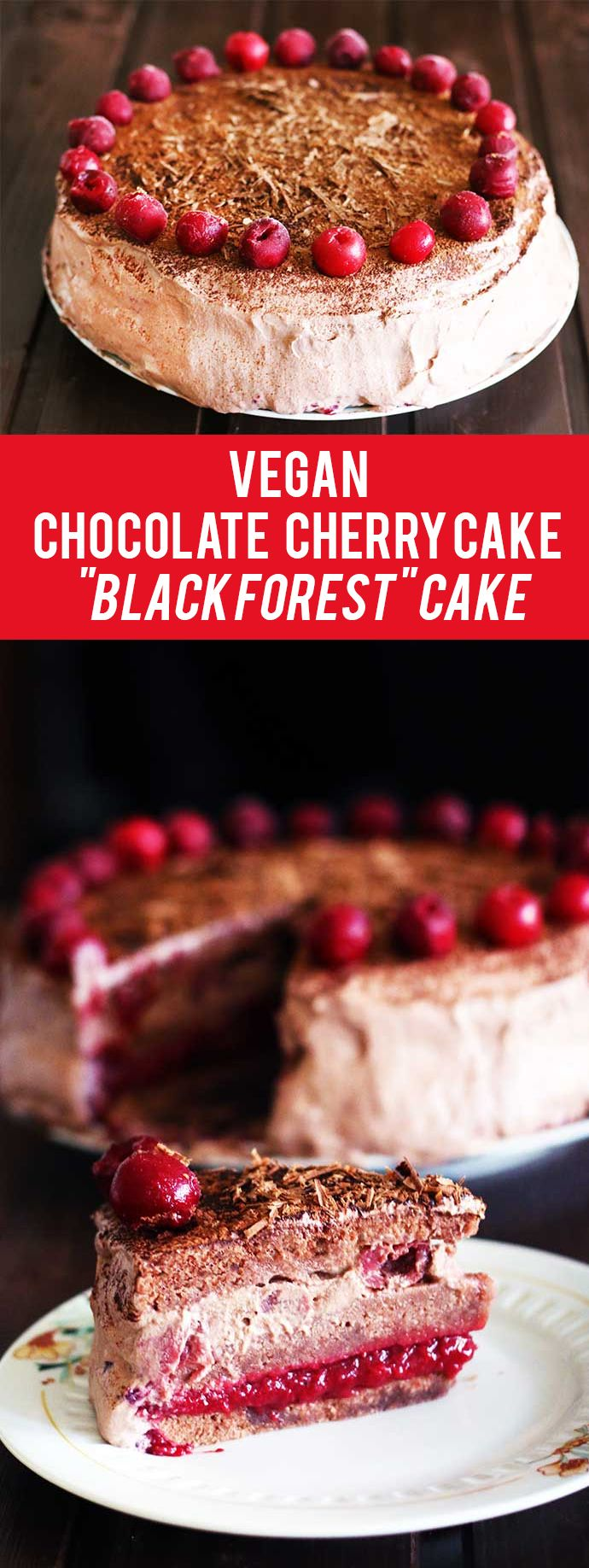 "This vegan chocolate cherry cake has a rich chocolate flavor that goes perfectly with the subtle sour taste given by the sour cherries. It's similar to the popular ""Black Forest"" cake recipe.  http://gourmandelle.com/vegan-chocolate-cherry-cake/"
