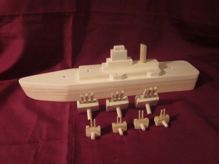 Hand Made Wooden Battleship. $55.00, via Etsy.