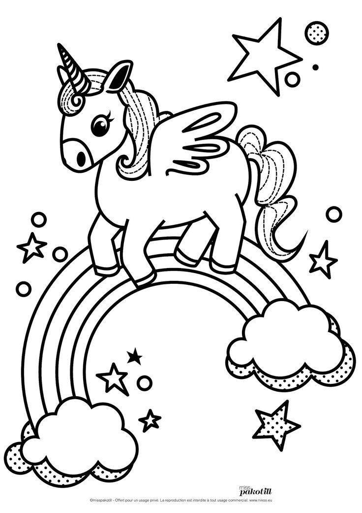 Farbung Unicorn Kawaii Farbung Unicorn Farbung Zeichnung Einhorn Zum Ausmalen Malvorlagen Malvorlage Einhorn