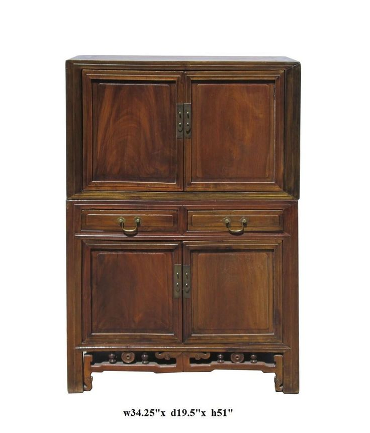 Chinese Brown Two Pieces Stack Storage Cabinet cs418   Golden Lotus Antiques  2049 El camino real San Mateo, CA 94403 tel: 650-522-9888 goldenlotusinc@yahoo.com