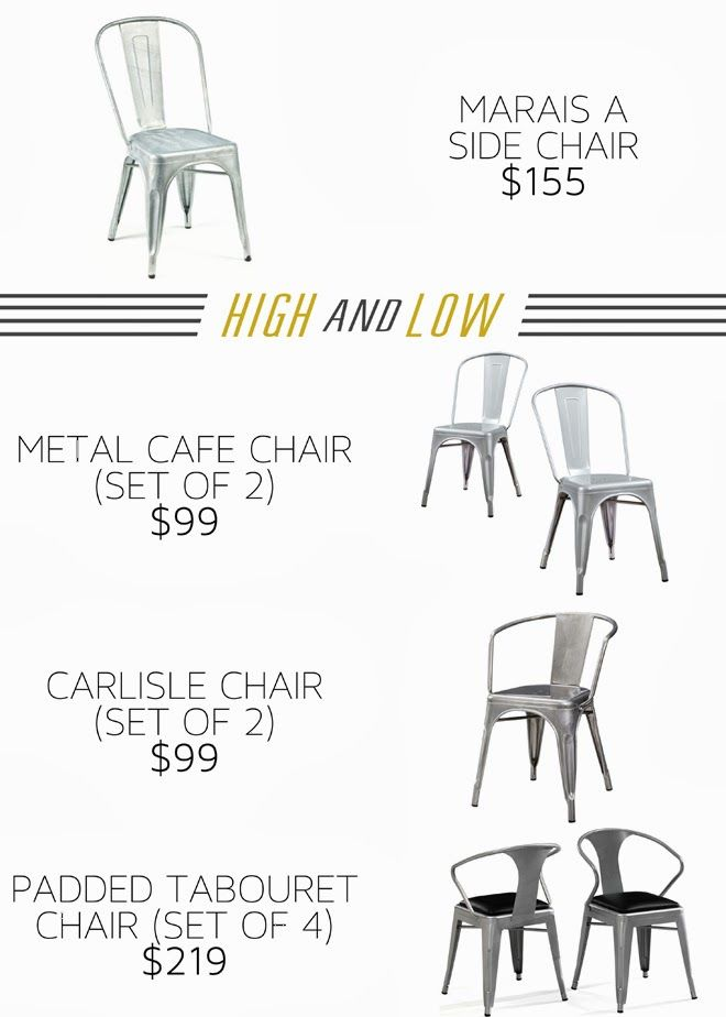 High and Low- AFFORDABLE Industrial chairs. Metal dining chairs.
