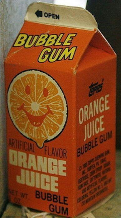 Orange juice bubble gum