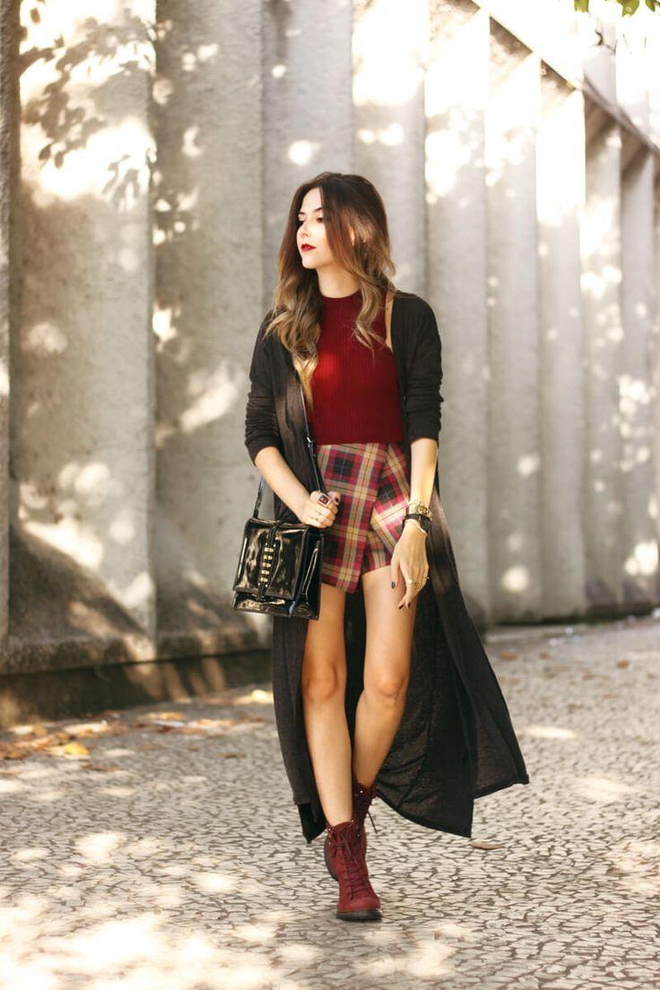 FashionCoolture - 04.04.2016 look du jour coturno Cravo e Canela burgundy xadrez plaid long cardigan (1)