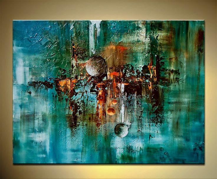 Cuadros modernos varias piezas azul celeste y turquesa s - Pintura azul turquesa ...