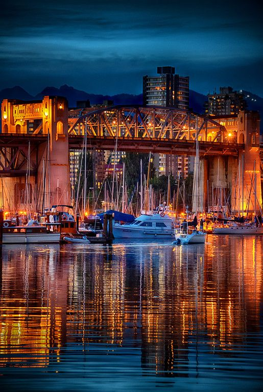Burrand Bridge, Granville Harbor, Vancouver, British Columbia, Canada