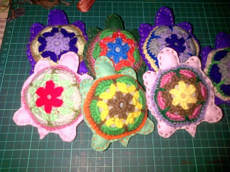 Crochet tortoise pin cushions