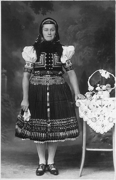 artifactcreature:  Juda Kristof in traditional Slovak dress.  Area of town Zvolen, Podpoľanie region, Central Slovakia. Source: digital.hannibal.lib.mo.us