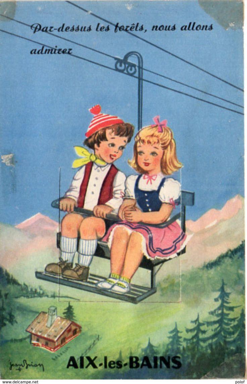 AIX LES BAINS - CP A Systéme - Dépliant 10 Vues - Enfants Sur Télésiège - Illustration De Jean BRIAN . (93715)