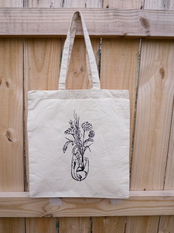 Possum Skull Dried Flowers Tote Bag by RatbeePress on Etsy