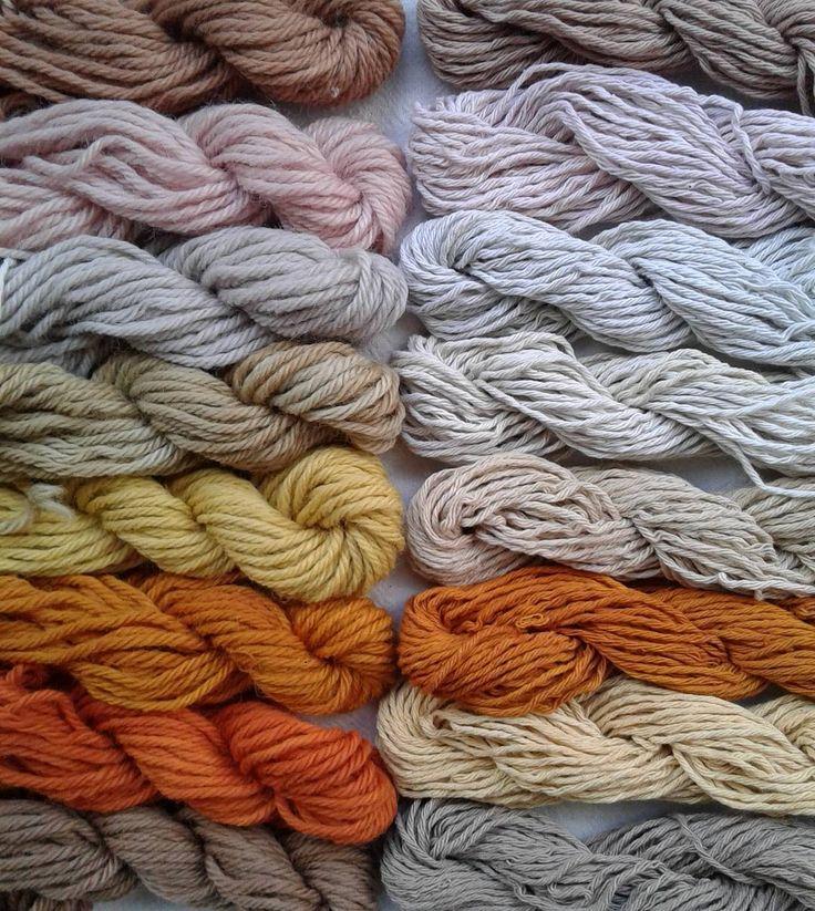 ¡Vivan los tines naturales! El resumen de estos últimos dos días de teñido   A la izquierda lana y a la derecha algodón. De arriba hacia abajo: cáscara de palta, tres colores del mismo repollo, molle, cebolla, eucalipto cinerea y nogal.  #lana #wool #teñido  #dye  #tintesnaturales #naturaldye