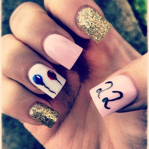 9 best Birthday Nails images on Pinterest Birthday nail art