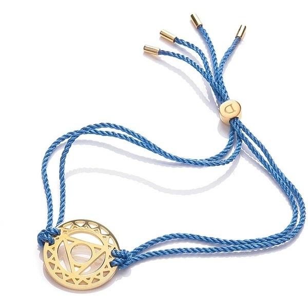 24k Gold Gloss Blue Throat Chakra Bracelet by Daisy Jewellery ($140) ❤ liked on Polyvore