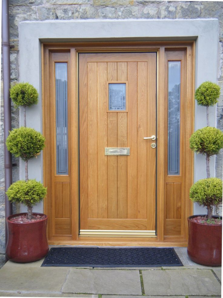 oak front door with side windows - Google Search