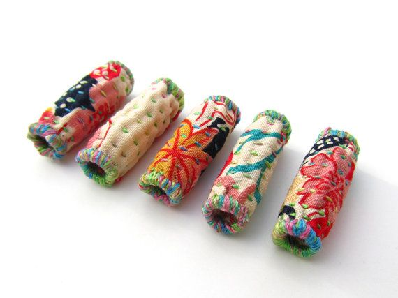 Japanese Fabric Beads Hand Quilted Art by VictoriaGertenbach, $15.00