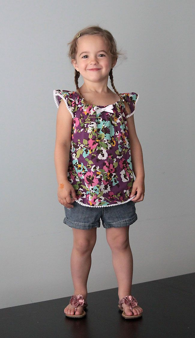 how to sew a darling flutter sleeve dress or top for a little girl + free pattern