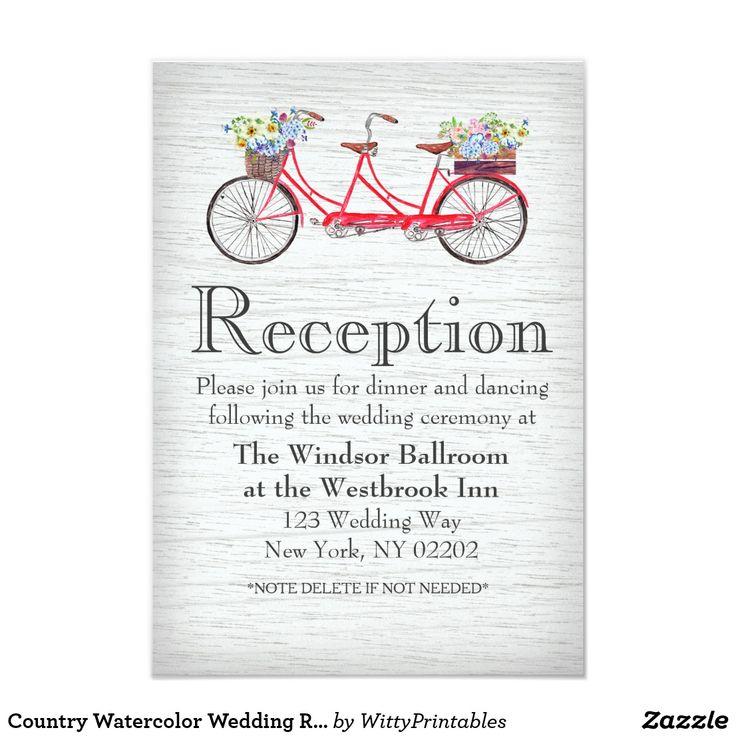 Country Watercolor Wedding Reception Card
