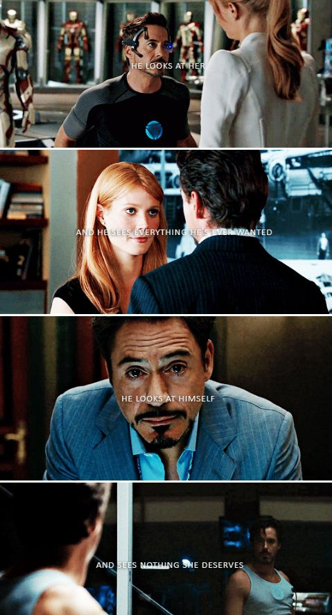 He looks at her - and sees everything he's ever wanted.  He looks at himself - and sees nothing she deserves.  OH WHY DON'T YOU STOMP ON MY HEART ALREADY #TonyStark #PepperPotts