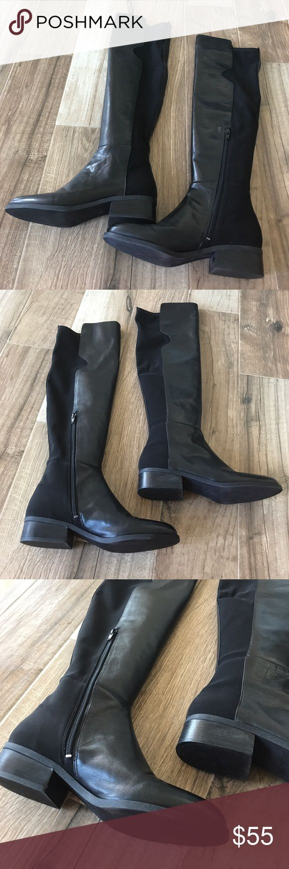 NINE WEST Black Leather Over the Knee Boots Like new! Only worn once inside for a work function. In excellent condition, no flaws. Size 9. Nine West leather zip over the knee boots. these will fit wide calf boot wearers! Nine West Shoes Over the Knee Boots