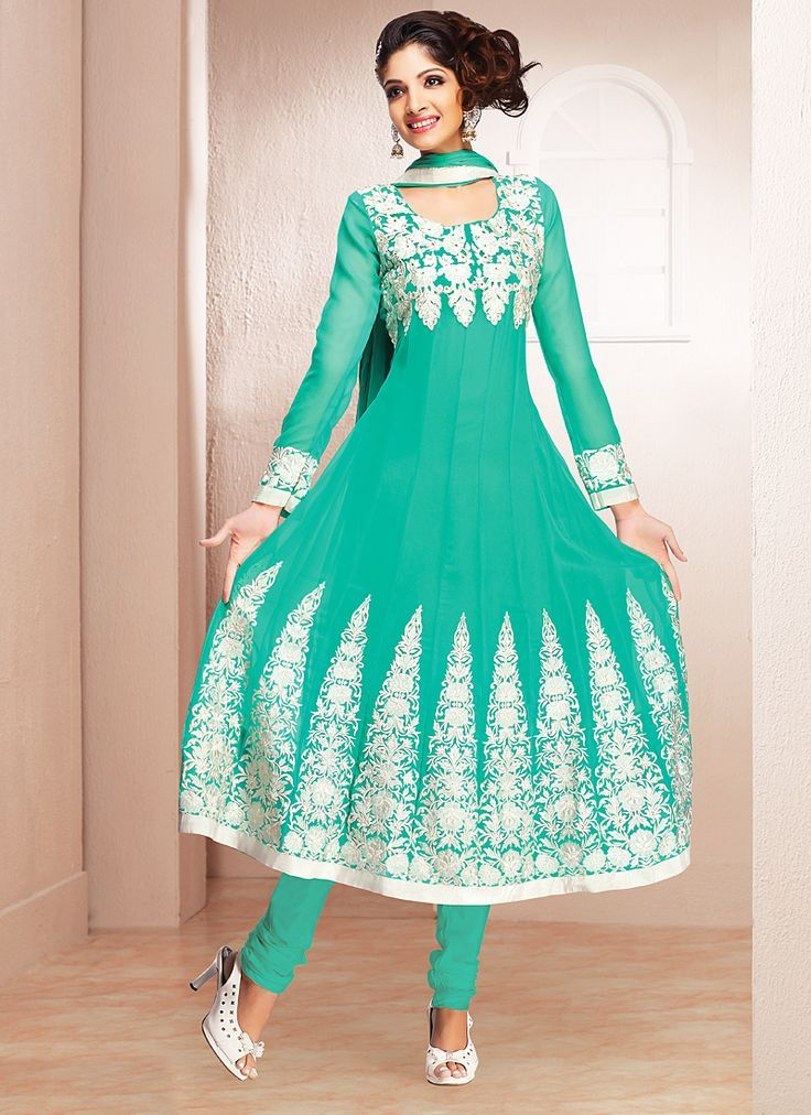 Heavy Embroidery Turquoise Indian Anarkali Dress