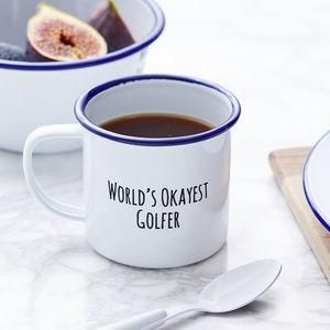 Personalised Enamel Golf Mug -This Father's Day, treat Dad to something he really wants — everlasting memories with you. invite Dad to the sporting event of the season — a night in with your favourite team, Britain's finest snacks and unique tipple or two.