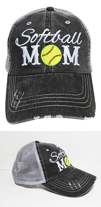 Embroidered Sports Mom Series Distressed Look Grey Trucker Cap Hat Sports (Softball Mom)